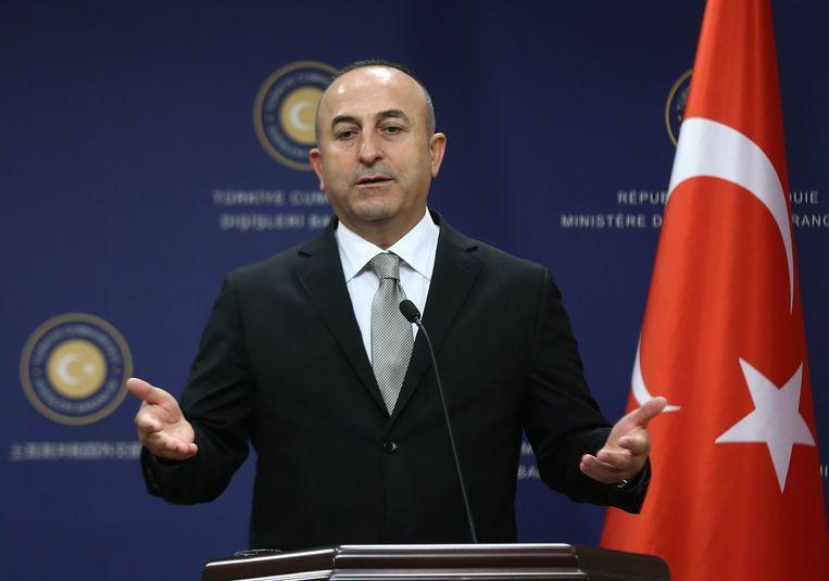 De Turkse minister van Buitenlandse Zaken Mevlüt Cavusoglu. Beeld afp