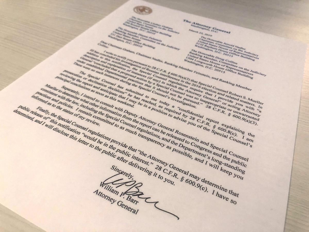 Een brief van justitieminister William Barr waarin hij bekend maakt het rapport te hebben ontvangen.