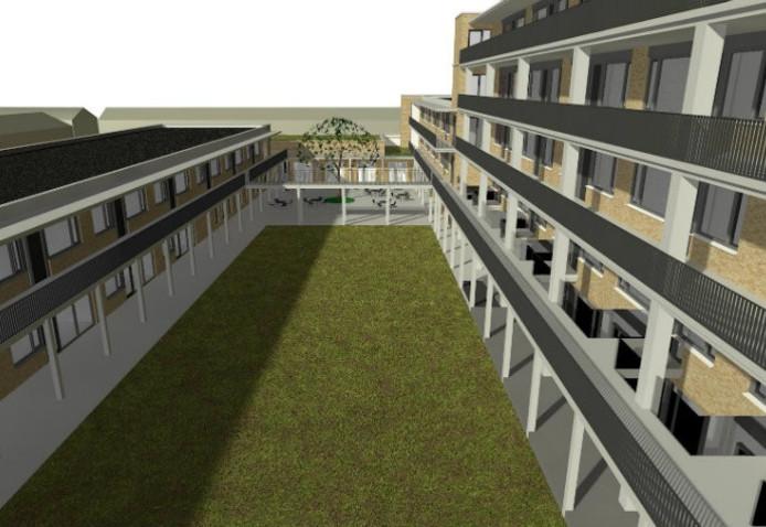 De binnentuin tussen de bebouwing aan het Floraplein (rechts) en die aan de Clematislaan. Op de achtergrond de ontmoetingsruimte.