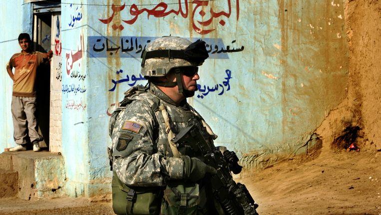 Een Amerikaanse soldaat in Fallujah.