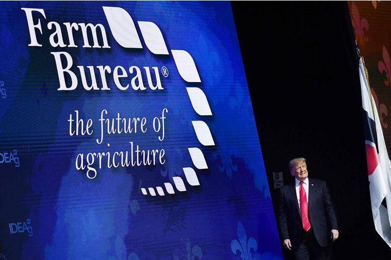 De Amerikaanse president Donald Trump spreekt voor de  American Farm Bureau Federation, de belangrijkste landbouwersvakbond van het land. Archieffoto.