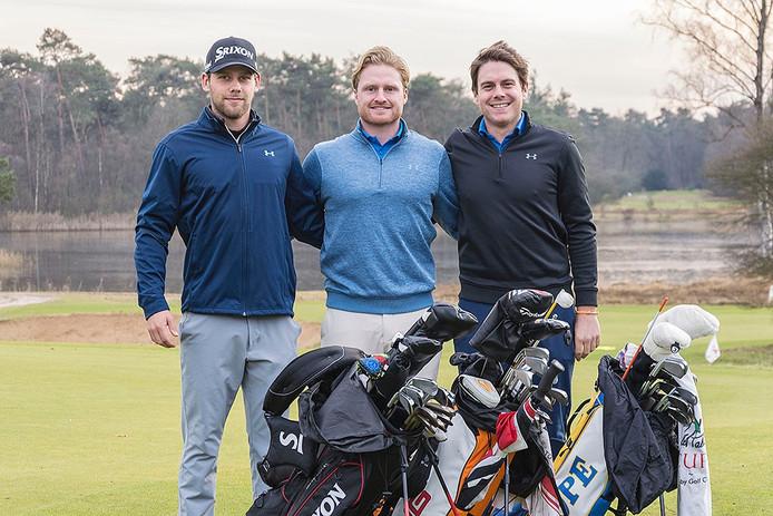 Golfers Jeroen Krietemeijer, Lars van Meijel en Rowin Caron