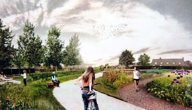 Een blik op het toekomstige park, met de fietsostrade.