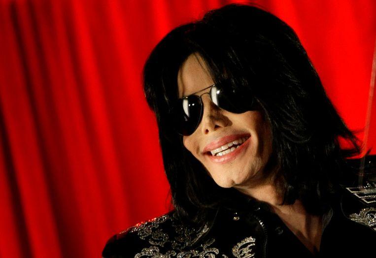 Michael Jackson op een persconferentie in Londen in 2009.