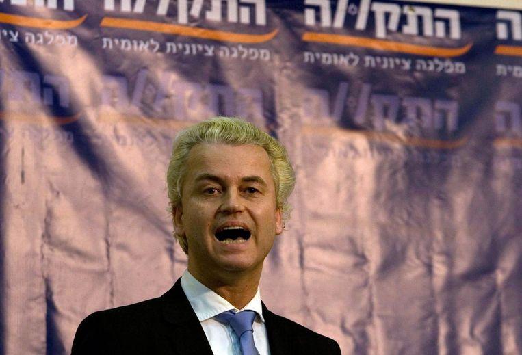 Wilders in 2010 bij de rechtse Israëlische partij Hatikva. Beeld afp