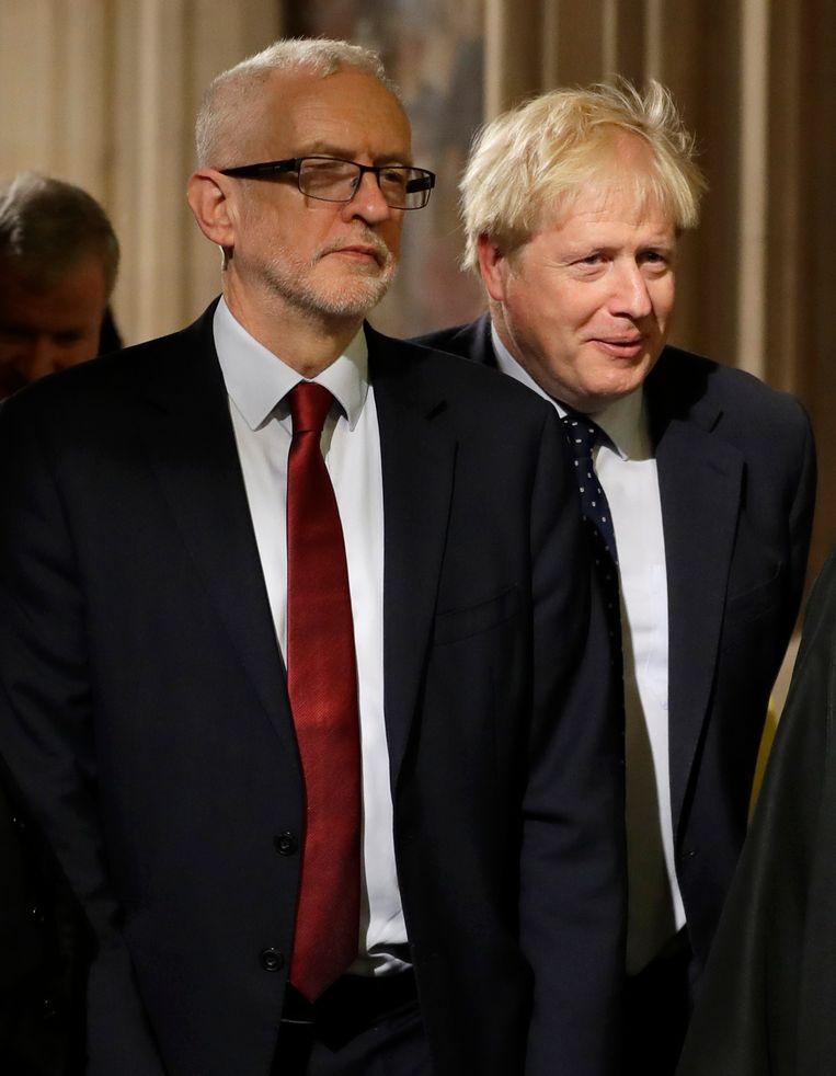 Jeremy Corbyn en Boris Johnson Beeld null