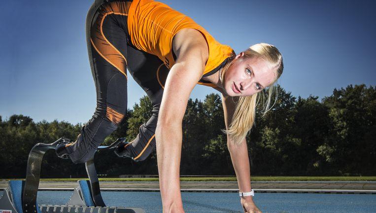 Fleur Jong loopt vrijdag in Doha tijdens de WK en de 200 meter. Beeld Jiri Buller