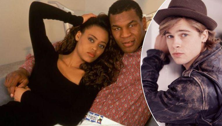 Tyson met zijn eerste vrouw Robin Givens, die hij op heterdaad betrapte met Brad Pitt.