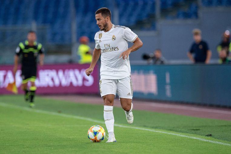 Eden Hazard tijdens een pre-match tegen AS Roma