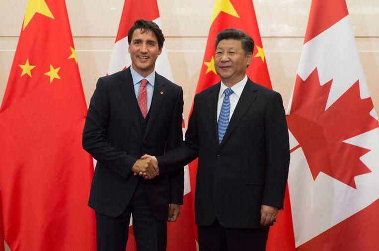 Justin Trudeau en de Chinese president Xi Jinping.