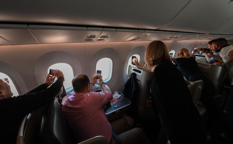 Passagiers aan boord van de vlucht zonder bestemming.