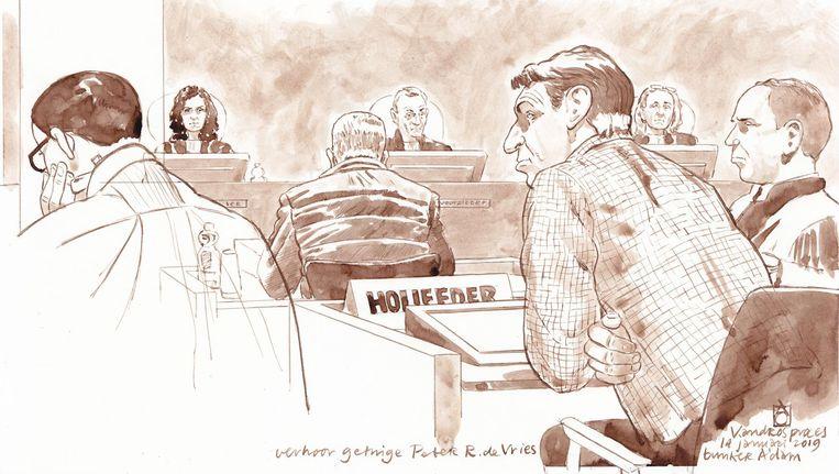 Rechtbanktekening van de voortzetting van het strafproces tegen Willem Holleeder. Beeld anp