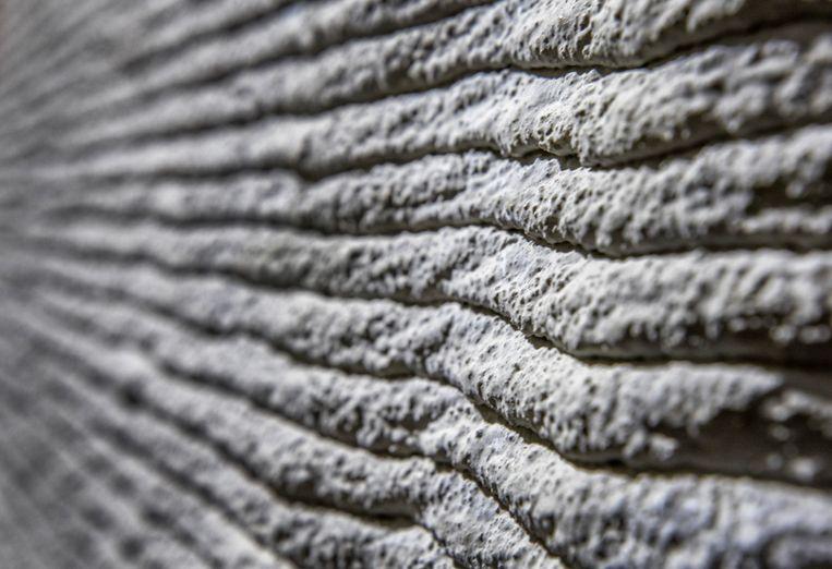 De geprinte muur, laagje voor laagje opgebouwd als met een reuzenslagroomspuit. Beeld Raymond Rutting/de Volkskrant