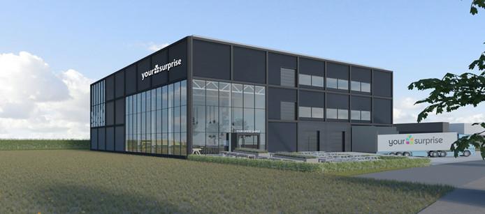 Het nieuwe gebouw van YourSurprise aan de weg naar en van de Zeelandbrug