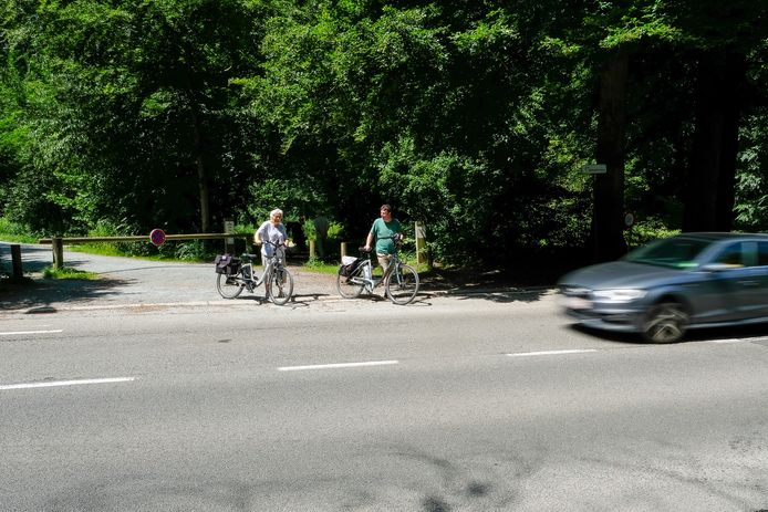 Fietsers moeten op de Terhulpensesteenweg lang wachten alvorens ze kunnen oversteken. Daarom vraagt Fietsersbond Druivenstreek drie veilige oversteekplaatsen.