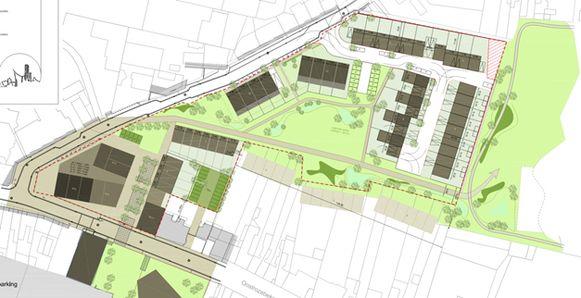 Zo zal het terrein er in de toekomst uitzien, met veel groen en een hondertal woningen.