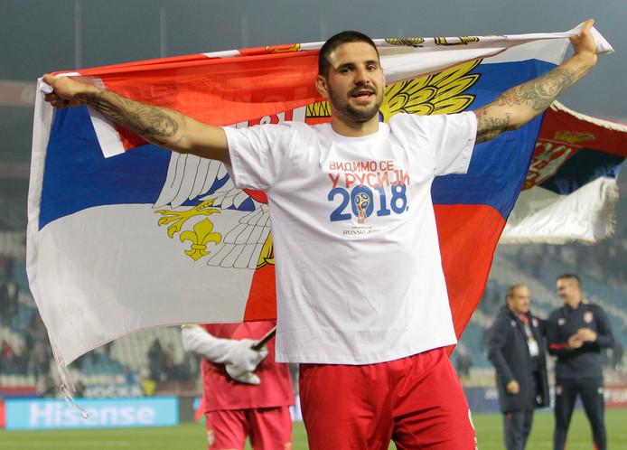 Aleksandar Mitrovic viert het bereiken van het WK.