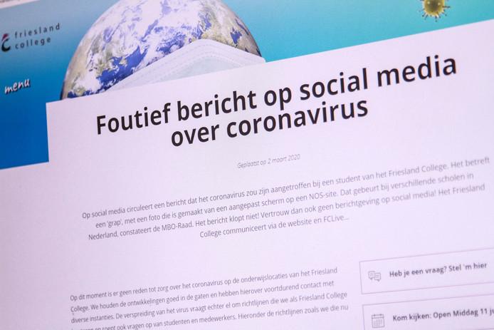 Een waarschuwing voor nepnieuws dat eerder deze maand verspreid was over een hogeschool in Leeuwarden.