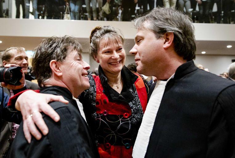 Marjan Minnesma, directeur van Urgenda, na afloop van de uitspraak van de Hoge Raad in de Urgenda-zaak. Beeld ANP