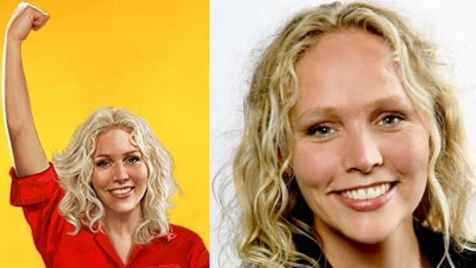 Links de foto van Kruidvat, rechts Sabine Uitslag