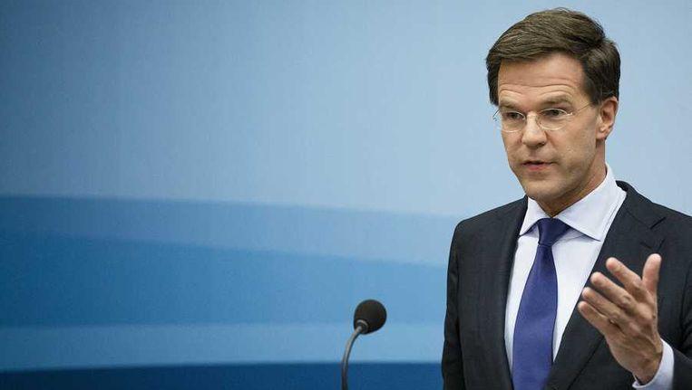 Premier Rutte vrijdag tijdens zijn wekelijkse persconferentie. Beeld anp