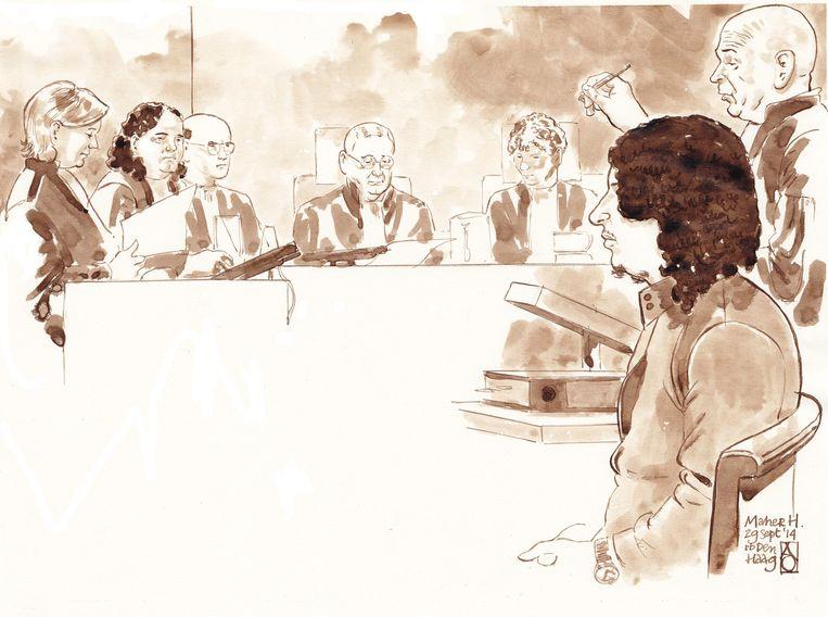 Rechtbanktekening van Maher H. Beeld anp