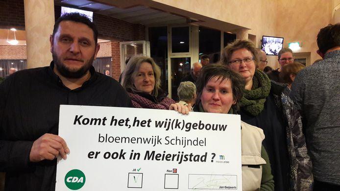 Bewoners van de Bloemenwijk in Schijndel voerden eerder actie voor een nieuw wijkgebouw in het bestuurscentrum van Meierijstad.