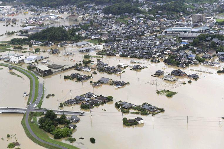 Een ondergelopen gebied in Takeo, in de prefectuur Saga in het zuiden van Japan.