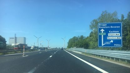 Einde wegenwerken E403 in Rumbeke in zicht, verkeer richting Brugge al over nieuw wegdek