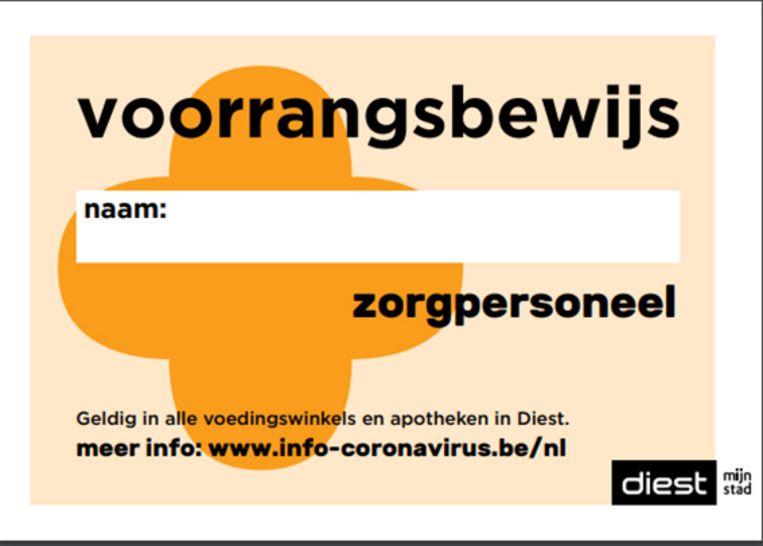Voorrangskaart voor zorgpersoneel.