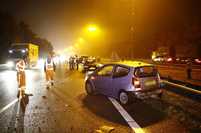 In totaal hadden zes auto's schade opgelopen bij de kettingbotsing op de A50 bij Hattem