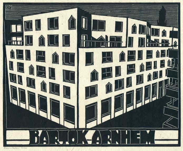 Houtsnede van gebouw Bartok in de binnenstad van Arnhem. Winnaar van de Heuvelinkprijs 2020 (juryprijs).