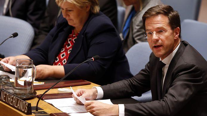 Premier Mark Rutte spreekt de VN-Veiligheidsraad toe.