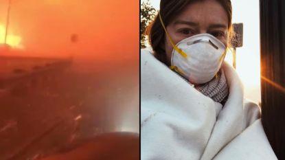 Bloedstollende beelden: bestuurster ontsnapt nipt aan dodelijkste bosbranden in geschiedenis van Californië