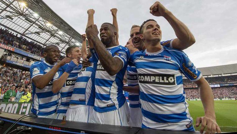 Spelers van PEC Zwolle vieren de 5-1 tegen Ajax in de bekerfinale Beeld anp