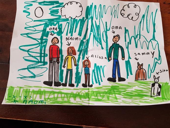 'Tekening van kleindochter Naomi omdat ze oma en opa mist'