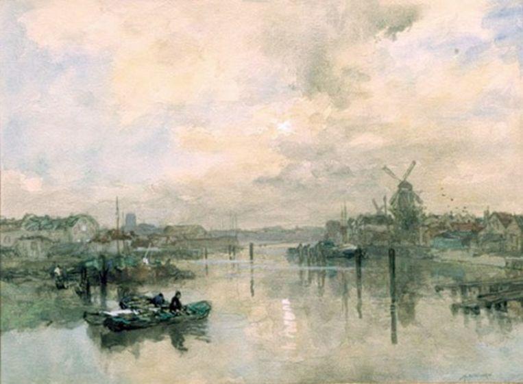 J.H. van Mastenbroek 1875 - 1945 Gezicht op Delftshaven. Beeld