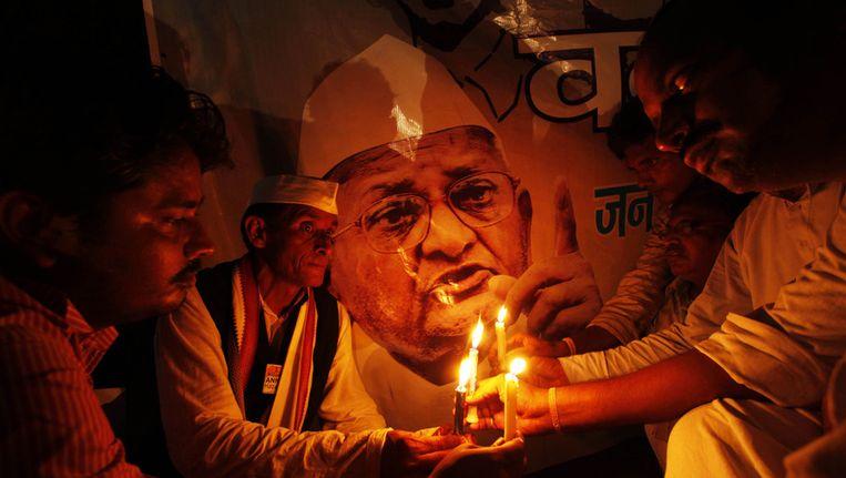 Aanhangers van Anna Hazare in New Delhi Beeld ap
