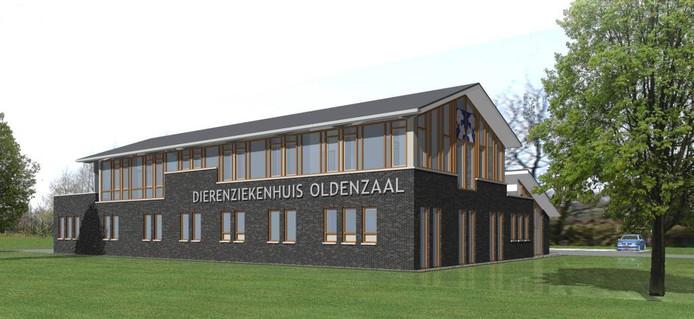 Zo komt het Dierenziekenhuis Oldenzaal eruit te zien. artist impression Leferink Architecten