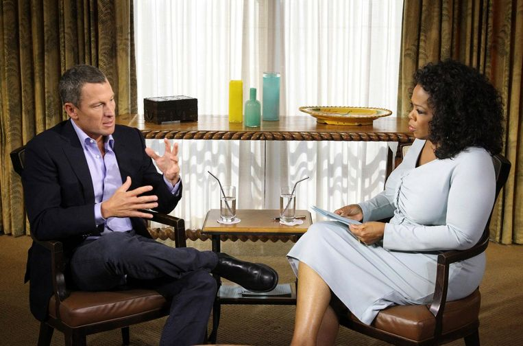 Lance Armstrong bekent doping in een gesprek met Oprah, januari 2013. Beeld Reuters