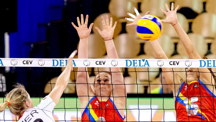In actie tijdens het EK Volleybal. Ter illustratie.