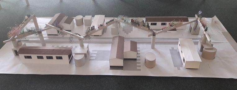 De betonnen pergola uit het oorspronkelijke ontwerp was niet geschrapt in het hele dossier waardoor de gemeente nu wel naast een subsidie grijpt, voorlopig althans.