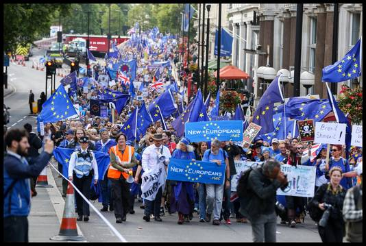 Anti-Brexit-demonstratie, gisteren, in Londen.