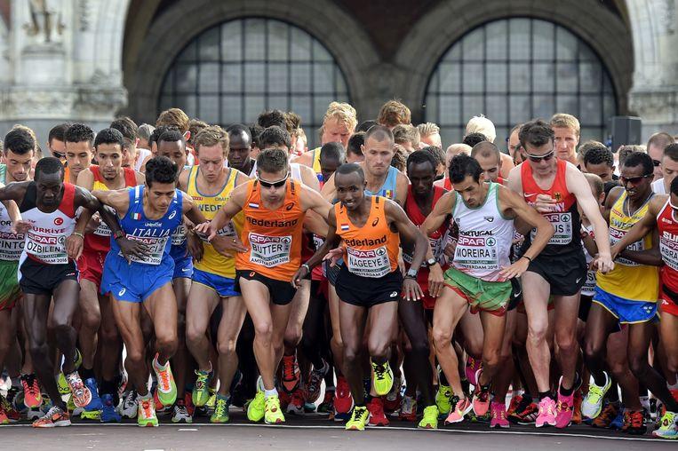 Deelnemers aan de halve marathon van zondag Beeld anp