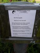 Poster bij visverenging Gaanderen na inbraak