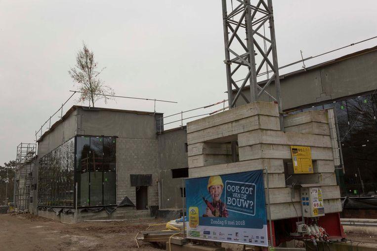 De meiboom geeft aan dat het hoogste punt van de bouw bereikt is.