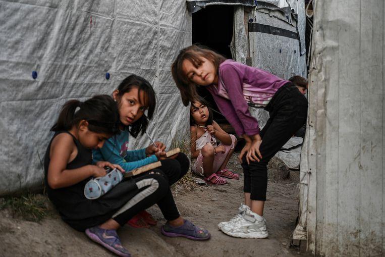 Kamp Moria op Lesbos, Griekenland. Beeld Hollandse Hoogte / AFP