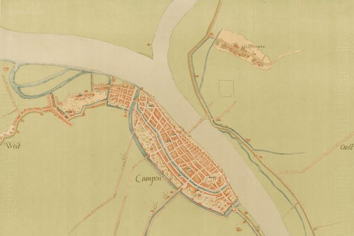 Eén van de vijf kaarten die het Historisch Centrum Overijssel in bezit heeft. Ze blijken inderdaad van de hand van kaartenmaker Jacob van Deventer en werden in 1870 aangekocht.