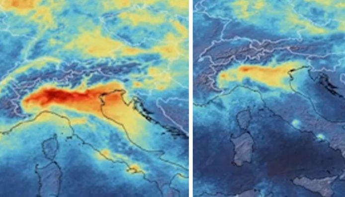 Ces images satellites montrent que le niveau de dioxyde d'azote a constamment diminué en Italie, entre janvier et mars, depuis le confinement de la population.