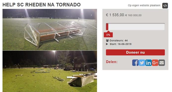 Sc Rheden wil via crowdfunding 160.000 euro inzamelen om de schade van de tornado van 4 juni te kunnen herstellen.
